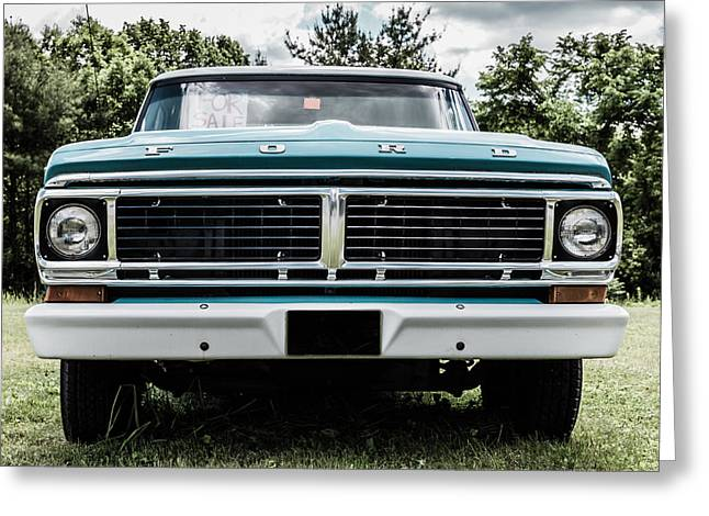 Blue Car. Greeting Cards - Old Ford Truck for Sale Greeting Card by Edward Fielding