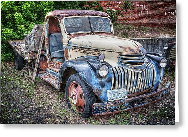 Sprague Greeting Cards - Old Truck Graveyard Greeting Card by Michael Gass