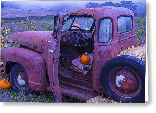 Travel Truck Greeting Cards - Old Truck In Pumpkin Field Greeting Card by Garry Gay