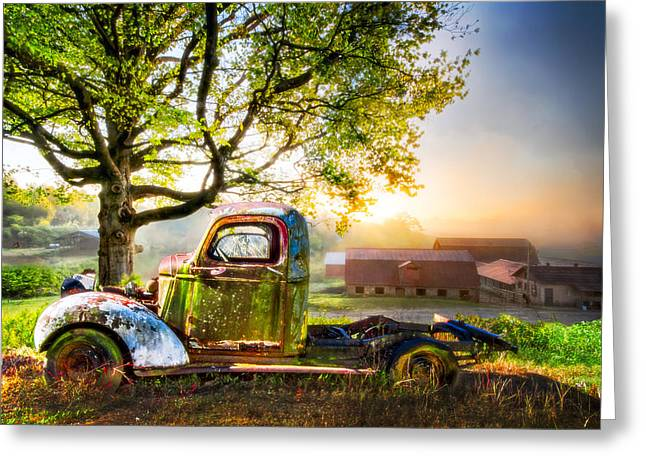 Old Truck In The Morning Greeting Card by Debra and Dave Vanderlaan