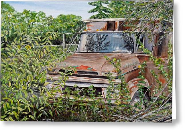 Old Relics Paintings Greeting Cards - Old truck rusting Greeting Card by Marilyn  McNish