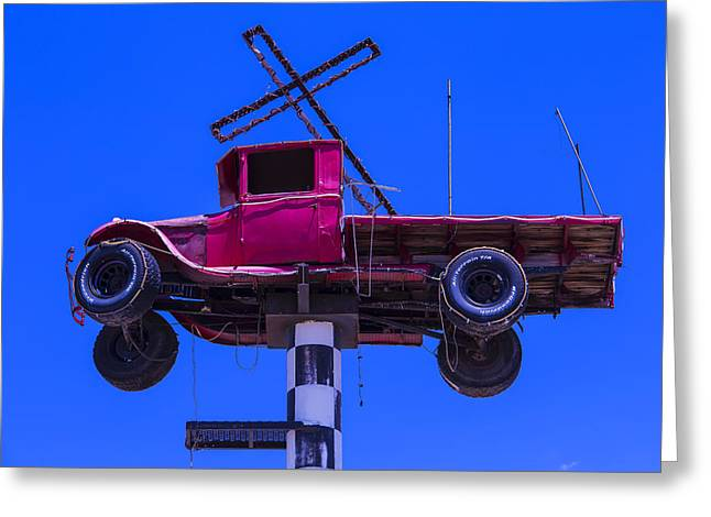 Red Truck Greeting Cards - Old truck With Cross Greeting Card by Garry Gay