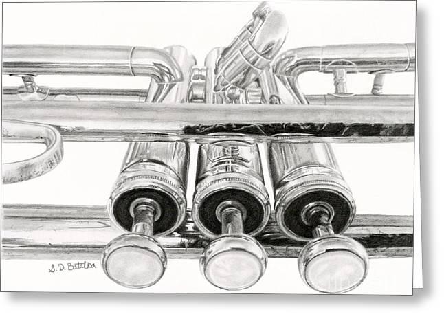Hyper-realism Greeting Cards - Old Trumpet Valves Greeting Card by Sarah Batalka