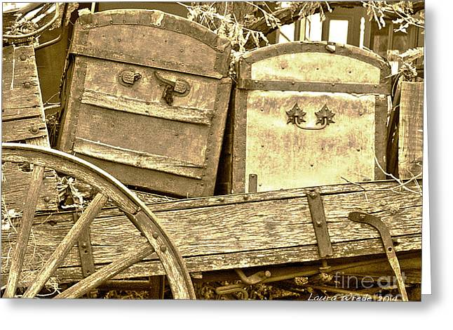 Laura Wrede Greeting Cards - Old Trunks in Genoa Nevada Greeting Card by Artist and Photographer Laura Wrede