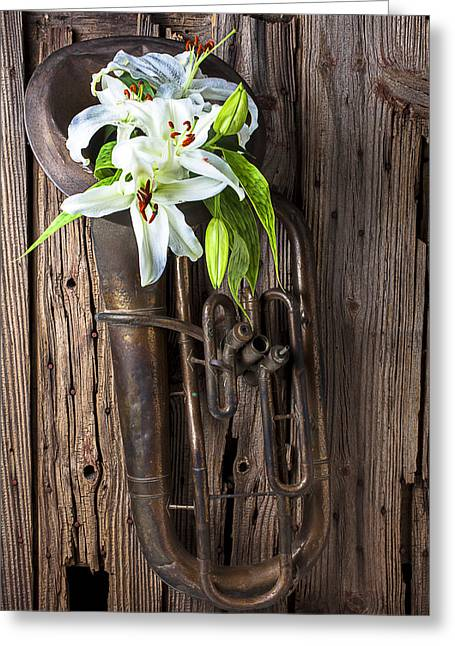 Old Wall Greeting Cards - Old tuba and white lilies Greeting Card by Garry Gay