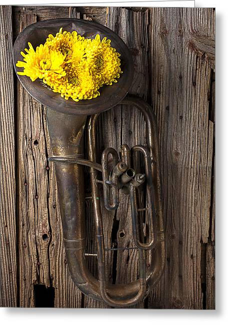 Old Wall Greeting Cards - Old tuba and yellow mums Greeting Card by Garry Gay