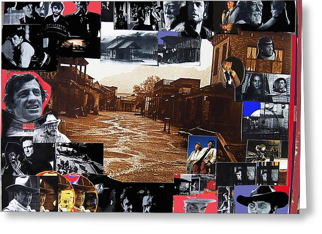 Old Tucson Arizona composite of artists performing there 1967-2012 Greeting Card by David Lee Guss