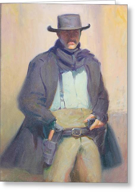 Arizona Cowboy Greeting Cards - Old Tucson Gun fighter Greeting Card by Ernest Principato