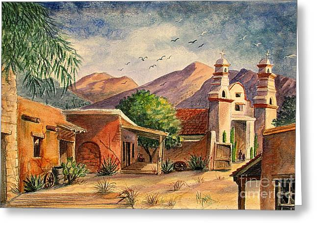 Wheels Greeting Cards - Old Tucson Greeting Card by Marilyn Smith