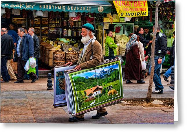 Food Stall Greeting Cards - Poster Man at the Istanbul Spice Market Greeting Card by David Smith