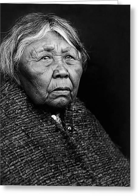 Grandma Greeting Cards - Old Twana woman circa 1913 Greeting Card by Aged Pixel
