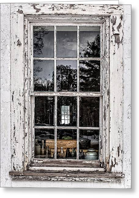 The Houses Greeting Cards - Old Twelve pane window with antique bottles Greeting Card by Edward Fielding