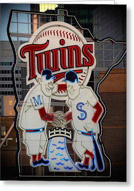 Target Field Greeting Cards - Old Twins Sign 3 Greeting Card by Todd and candice Dailey