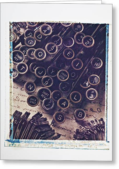 Typewriter Keys Photographs Greeting Cards - Old typewriter keys Greeting Card by Garry Gay