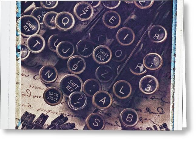 Old typewriter keys Greeting Card by Garry Gay