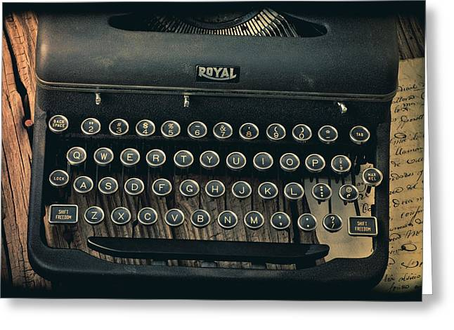 Old Typewriter With Letter Greeting Card by Garry Gay
