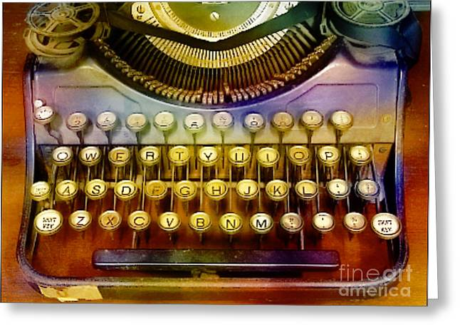 Typewriter Mixed Media Greeting Cards - Old Typewrter Greeting Card by M and L Creations