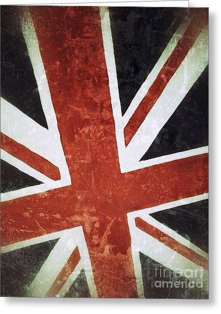 British Flag Greeting Cards - Old UK Flag Greeting Card by Carlos Caetano