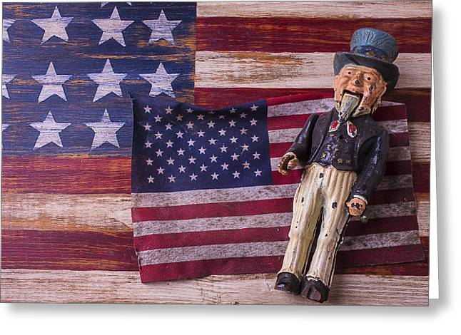 Star Spangled Banner Greeting Cards - Old Uncle Sam and Flag Greeting Card by Garry Gay
