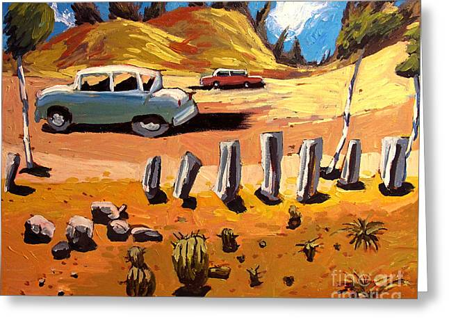 Road Trip Paintings Greeting Cards - Old US Route 66 Tuscon 1950 Greeting Card by Charlie Spear