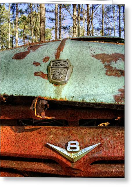 Green And Yellow Greeting Cards - Old V8 Ford Truck Greeting Card by Greg Mimbs