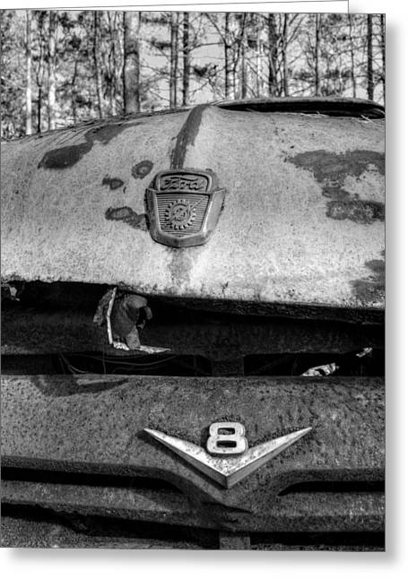 Rusty Gears Greeting Cards - Old V8 Ford Truck in Black and White Greeting Card by Greg Mimbs