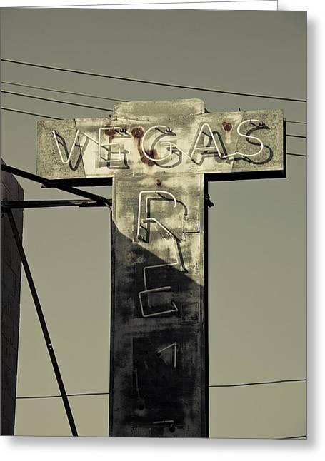 Fremont Street Greeting Cards - Old Vegas Sign On First Street, Fremont Greeting Card by Panoramic Images