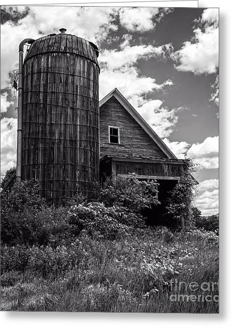 Silo Greeting Cards - Old Vermont Barn and Silo Greeting Card by Edward Fielding