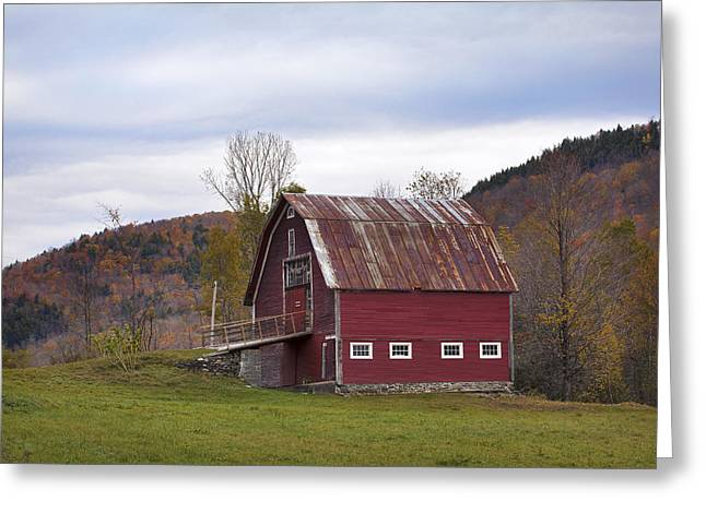 New England Village Greeting Cards - Old Vermont Barn Greeting Card by Eric Gendron