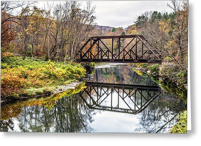 Train Bridge Greeting Cards - Old Vermont Train Bridge in Autumn Greeting Card by Edward Fielding