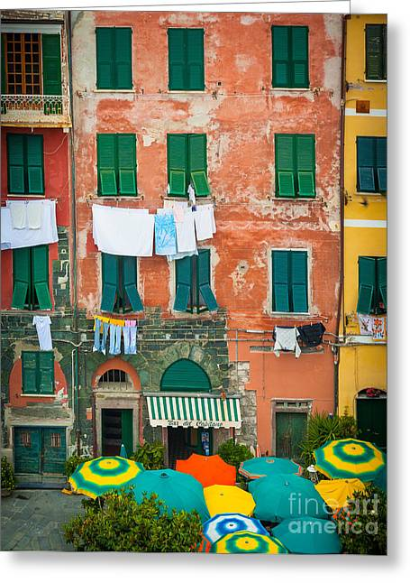 Cinque Terre Greeting Cards - Old Vernazza Greeting Card by Inge Johnsson