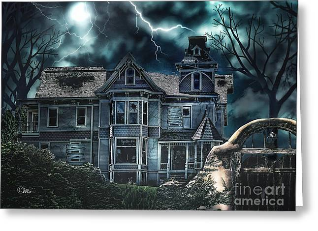 Creepy Digital Art Greeting Cards - Old Victorian House Greeting Card by Mo T