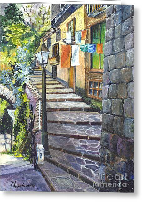 Yellowscape Greeting Cards - Old Village Stairs - Tuscany Italy Greeting Card by Carol Wisniewski