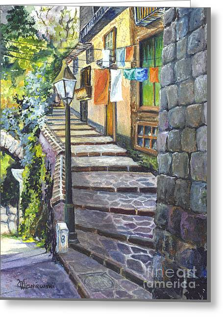 Stepping Stones Drawings Greeting Cards - Old Village Stairs - Tuscany Italy Greeting Card by Carol Wisniewski