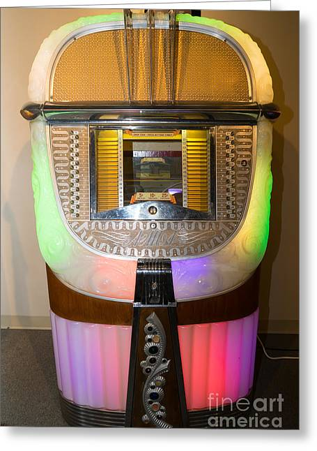 Music Ipod Greeting Cards - Old Vintage AMI Jukebox DSC2775 Greeting Card by Wingsdomain Art and Photography