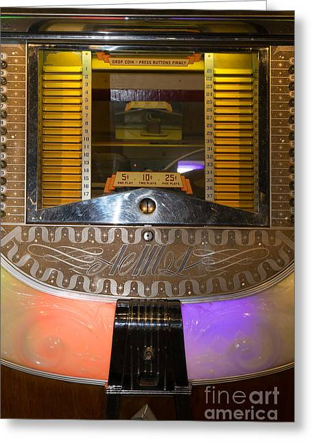 Music Ipod Greeting Cards - Old Vintage AMI Jukebox DSC2776 Greeting Card by Wingsdomain Art and Photography