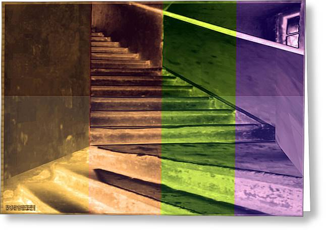 Staircase Mixed Media Greeting Cards - Old Vintage Building wide staircases digitally painted for decoration art Greeting Card by Navin Joshi