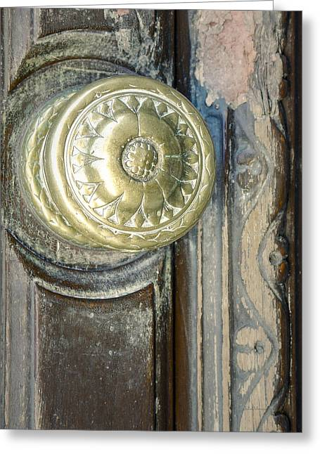 Door Knob Greeting Cards - Old Vintage Door Knob Greeting Card by Julie Palencia
