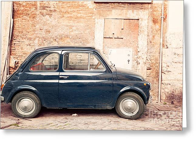 Fiat 500 Greeting Cards - Old vintage fiat 500 car in Rome Italy Greeting Card by Matteo Colombo