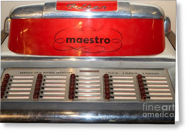Maestro Greeting Cards - Old Vintage Filben Maestro Jukebox DSC2772 Greeting Card by Wingsdomain Art and Photography