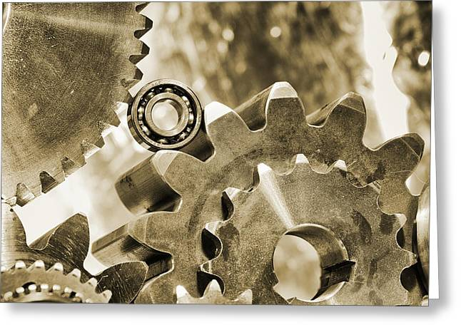 Stainless Steel Greeting Cards - Old Vintage Gears And Bearing Machinery Greeting Card by Christian Lagereek