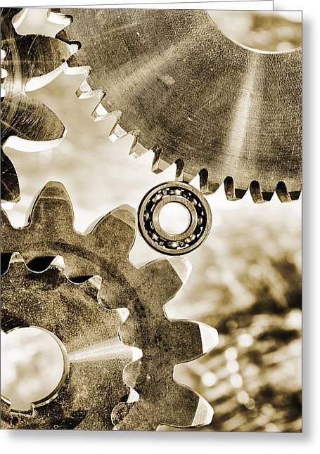 Stainless Steel Greeting Cards - Old Vintage Gears And Cogwheels Greeting Card by Christian Lagereek
