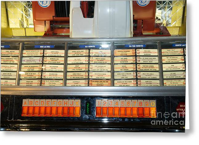 Music Ipod Greeting Cards - Old Vintage Jukebox DSC2758 Greeting Card by Wingsdomain Art and Photography