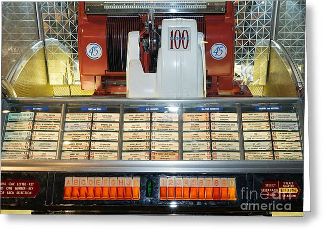 Music Ipod Greeting Cards - Old Vintage Jukebox DSC2759 Greeting Card by Wingsdomain Art and Photography