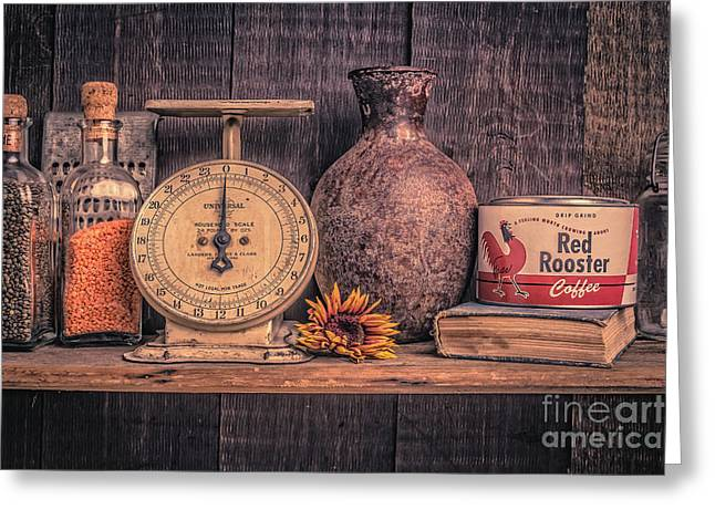 Cupboard Greeting Cards - Old Vintage Kitchen Shelf Greeting Card by Edward Fielding