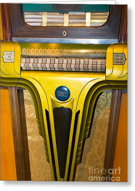 Music Ipod Greeting Cards - Old Vintage Mills Empress Jukebox DSC2789 Greeting Card by Wingsdomain Art and Photography