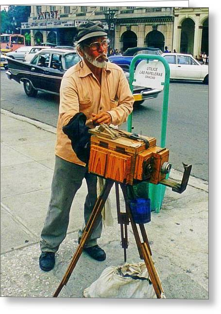 Famous Photographers Greeting Cards - Old Vintage Photographer and Camera Greeting Card by John Malone Halifax photographer