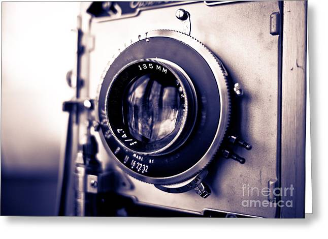 Journalist Greeting Cards - Old Vintage Press Camera  Greeting Card by Edward Fielding