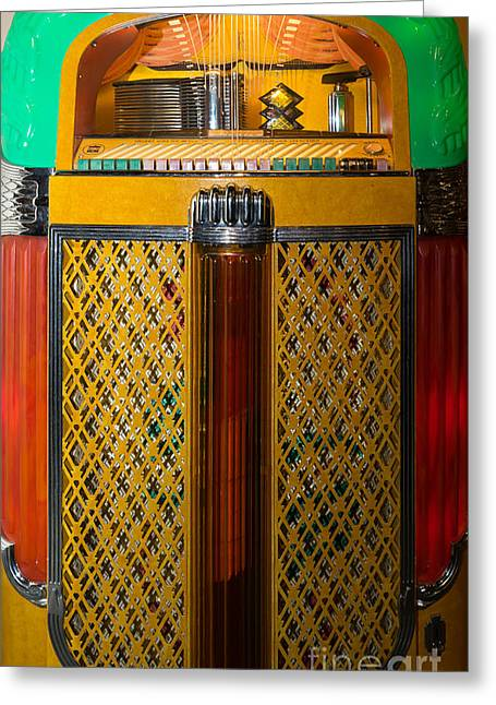 Coins Greeting Cards - Old Vintage Rock Ola Jukebox DSC2785 Greeting Card by Wingsdomain Art and Photography