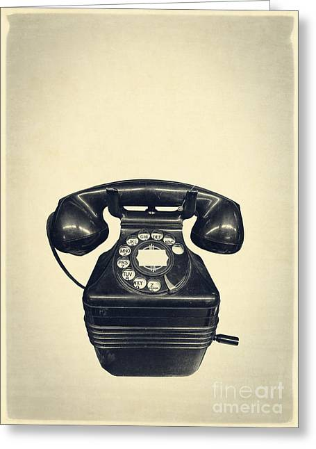 Old Vintage Telephone Greeting Card by Edward Fielding